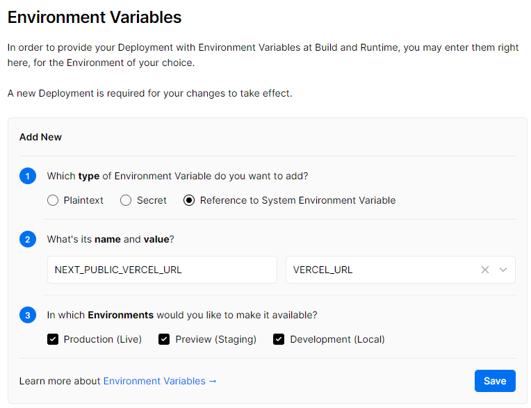 Vercel environment variables settings